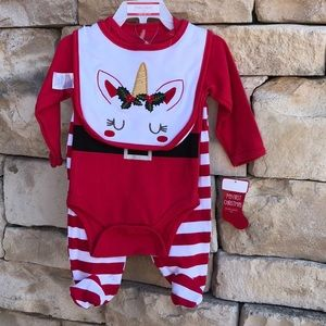 NWT Baby Gear Unicorn Santa 3 pc Bib Pants Set 0-3